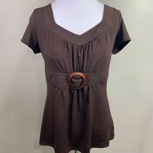 Maurices Womens Top Brown Short Sleeve Sweetheart
